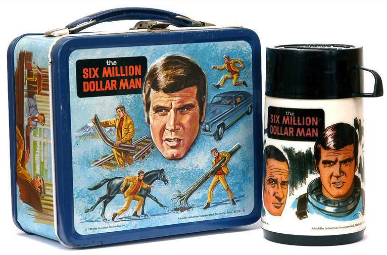 "Many vintage lunch boxes are sold without their matching thermos, but this ""Six Million Dollar Man"" lunch box from 1974 is complete."
