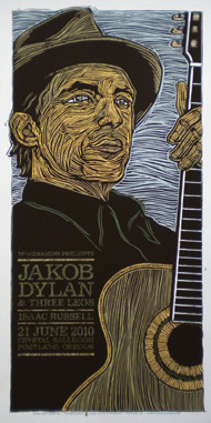 Some posters, such as this one for a Jakob Dylan concert, are like portraits.