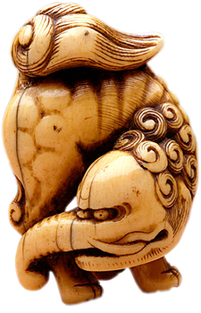 This is baku, the monster that eats nightmares, in ivory, from the 18th century.