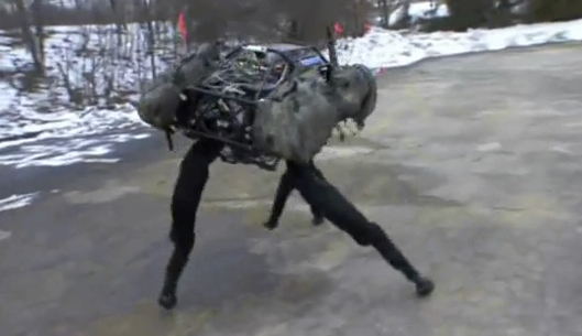 The Big Dog robot, seen here in a video, elicits empathy because we recognize its movements.