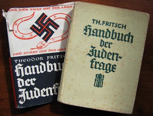 "1. Theodor Fritsch's ""Handbook of the Jewish Question"" laid the groundwork for German anti-Semitism in 1896. When this edition was printed during the Nazi era, its cover bore a swastika. 2. Many of the flags and pins collected by people interested in Nazi artifacts were made by a company called Bernard Richter, whose 1935 catalog is shown at top."