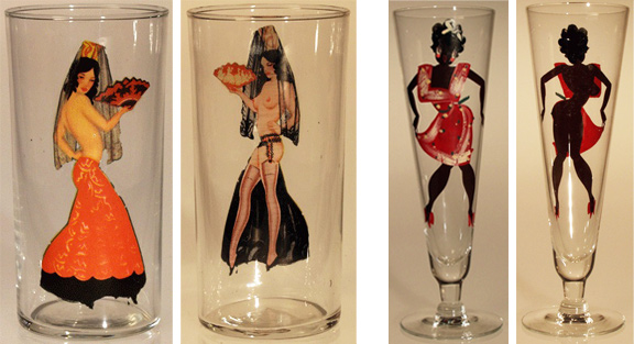 "The flamenco dancer, left, appeared in a 1940s set of ""international"" girlie glasses that included a can-can dancer, hula girl, and Japanese fan dancer. The rare black woman, right, came as part of a set of '60s Pilsner glasses with decal bodies and hand-painted clothing. Photos courtesy of Tigre McMullan."