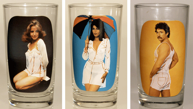 "These 1970s Sip and Strip glasses, made for Spencer Gifts, use photographic images and 1940s ""mystic"" technology to reveal the nude underneath the painted-on clothing. Photos courtesy of Tigre McMullan."