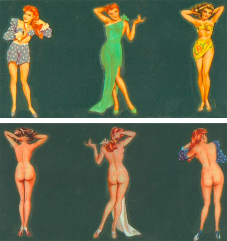"These decals (fronts on top, reverses below) feature drawings by Alberto Vargas, the famed pin-up artist for ""Esquire"" and ""Playboy."" Photos courtesy of Stan and Mardi Timm."