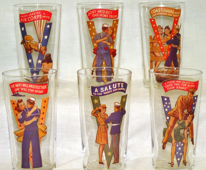 A set of World War II-era victory glasses, produced by Fishlove. A slightly naughty version of image showing underpants, cleavage, or booze, is on the reverse. Photo courtesy of Stan and Mardi Timm.