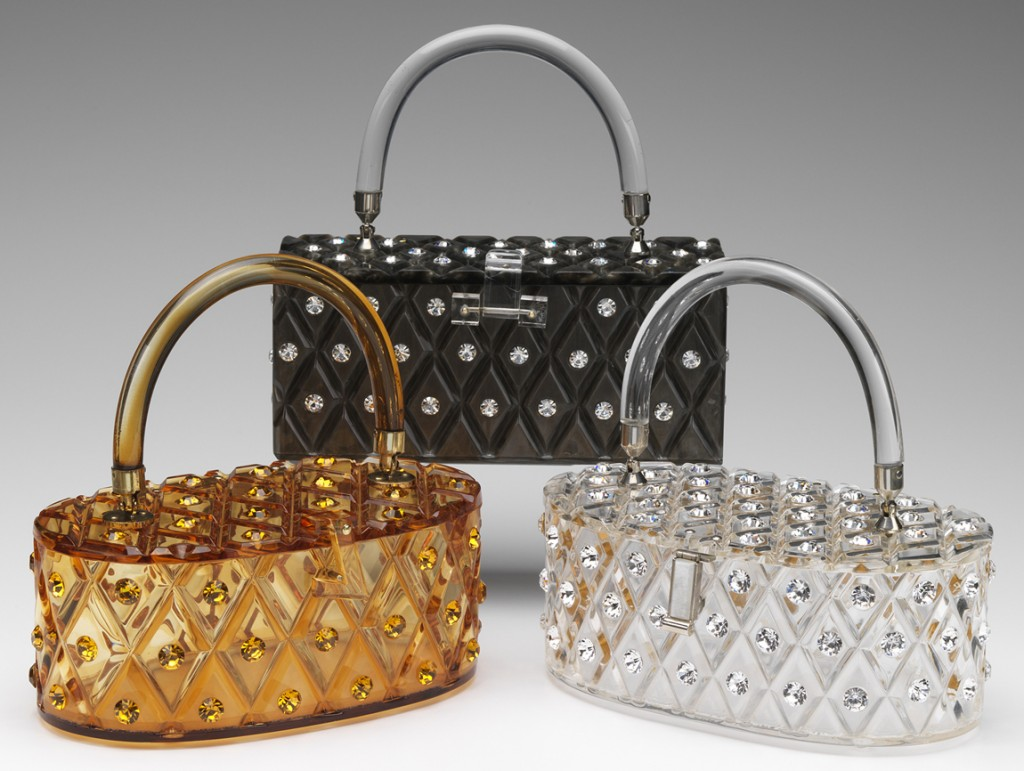 A trio of Maxim bags, each carved in a diamond pattern and dotted with rhinestones.