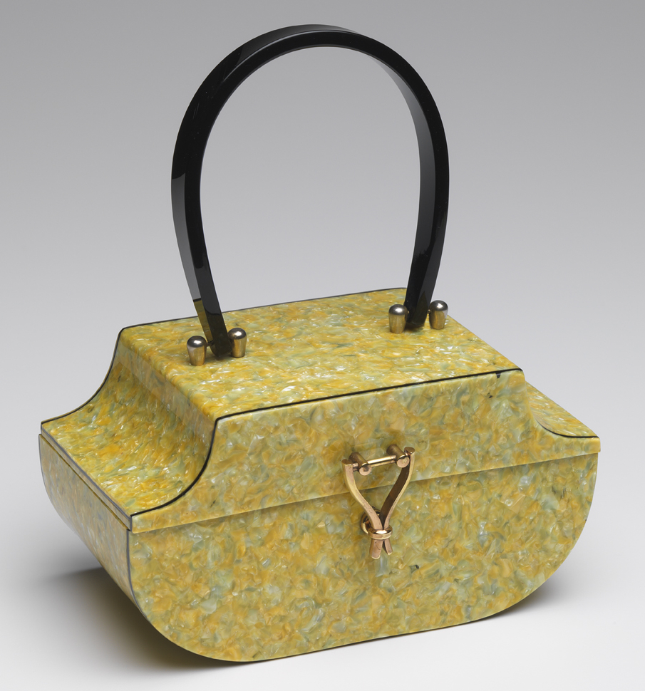 "This yellow and green ""crushed crayons"" bag was made of Lamoplex by Myles Originals of Florida."