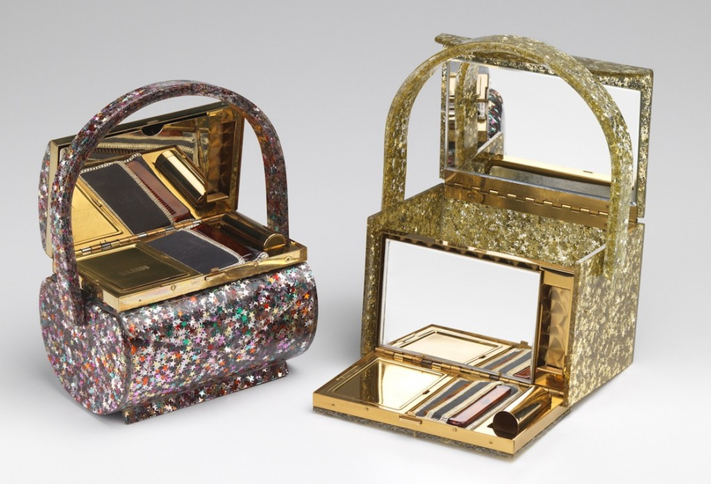 Vanity purses laminated with colored or gold glitter, such as these examples from Wilardy, were popular throughout the 1950s.