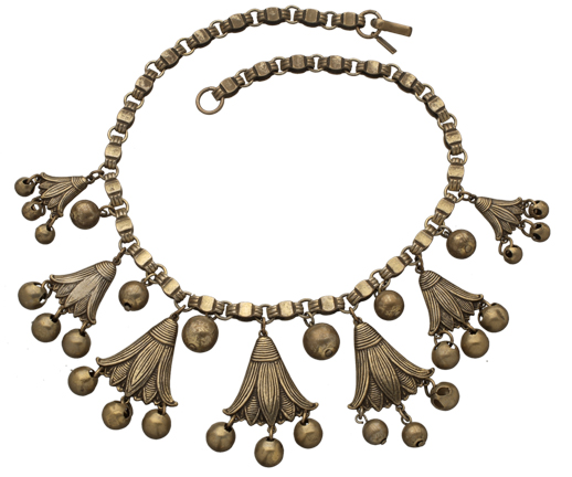 Egyptian and Art Deco influences can be seen in this 16-inch, gold-finished necklace from the late 1930s.