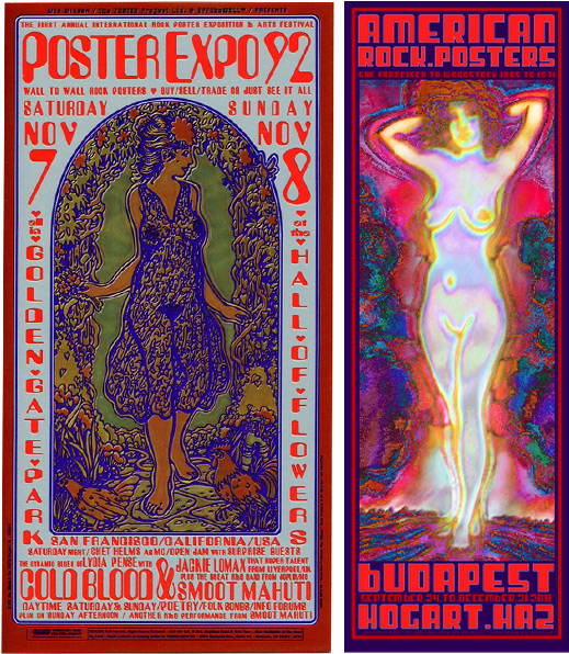 Recent Wilson posters include one for the Poster Expo in Golden Gate Park in 1992 (left) and another for a 2011 show in Budapest (right).