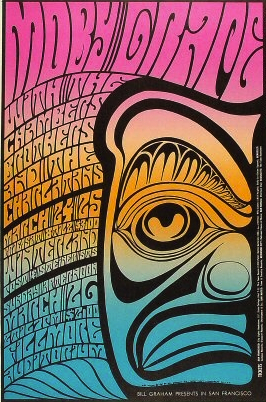 Wilson used an image taken from a Northwest Coast Indian mask as the dominant element in this split-fountain Moby Grape poster from March of 1967.