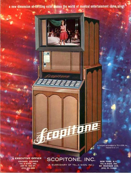 When the French Scopitone (top) was introduced in the United States, a Chicago company called Tel-a-Sign redesigned the machine's exterior (above) but left the mechanical insides almost the same.