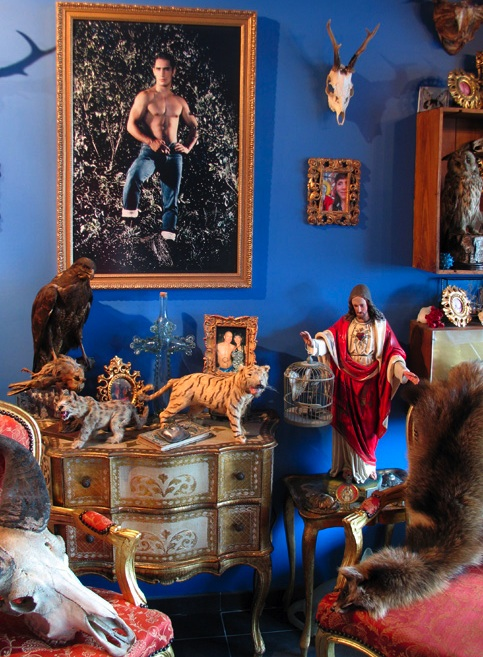The unique interior of Belgian taxidermy artist Annick Debaillie's apartment, filled with her work and creative inspiration. Image via Rachel Poliquin's Ravishing Beasts blog.