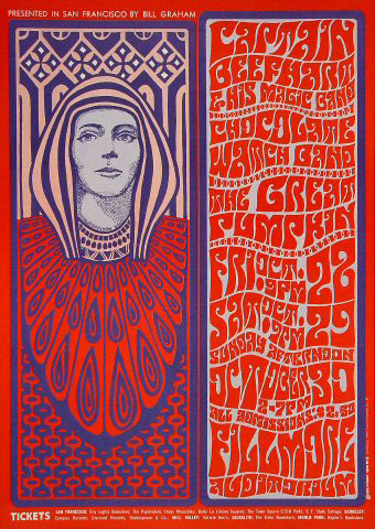 This poster for a show headlined by Captain Beefheart (misspelled on the poster), reflects Wilson's fondness for the Viennese Secessionists.