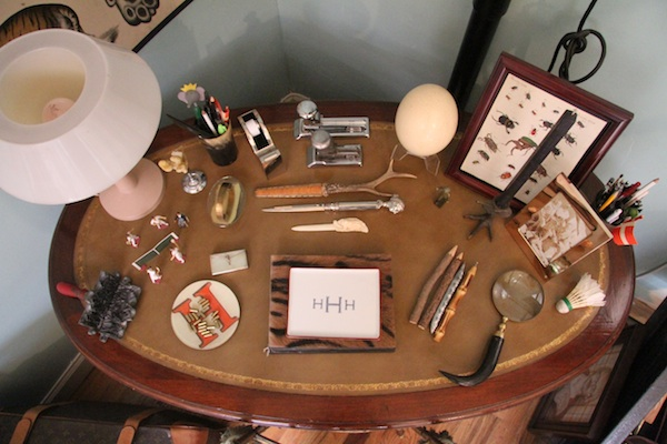 This table reveals the Hoveys' fascination with antique scientific artifacts. Photo by Porter Hovey.