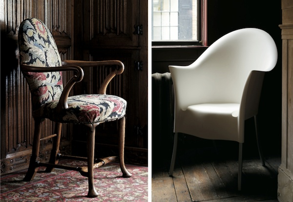 At her home, Miller likes to contrast these two chairs, an early 1700s Queen Anne walnut shepherd's crook arm chair, at left, and a 1994 Philippe Starck Lord Yo chair, at right.