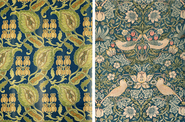 "Textiles from Miller's personal collection: At left, an Arts & Crafts wool hanging, attributed to George Faulkner Armitage. At right, Morris & Co ""Strawberry Thief"" chintz curtains."