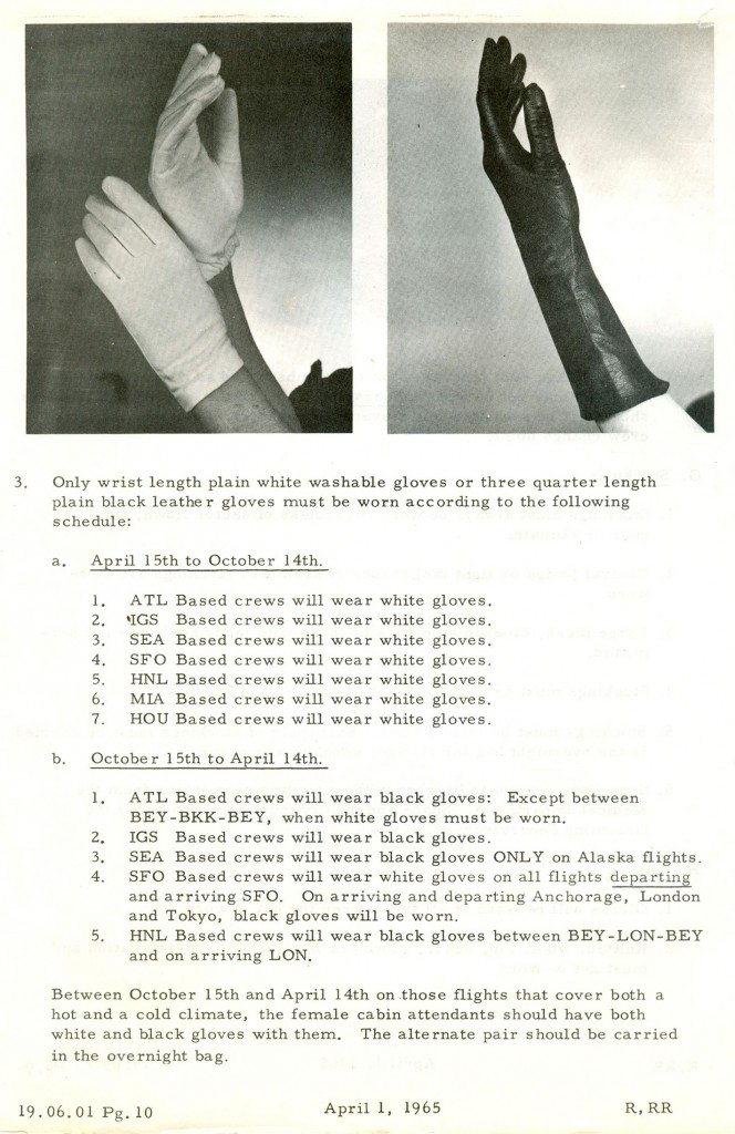 When should a flight attendant wear white versus black gloves? Click the image above to read the full protocol.