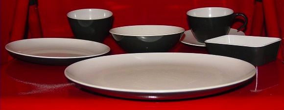 These plastic plates were used in the economy cabin from the late 1950s to early 1960s.
