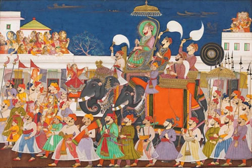 An intricate watercolor depicting the procession of Maharao Ram Sing II of Kota, circa 1850.