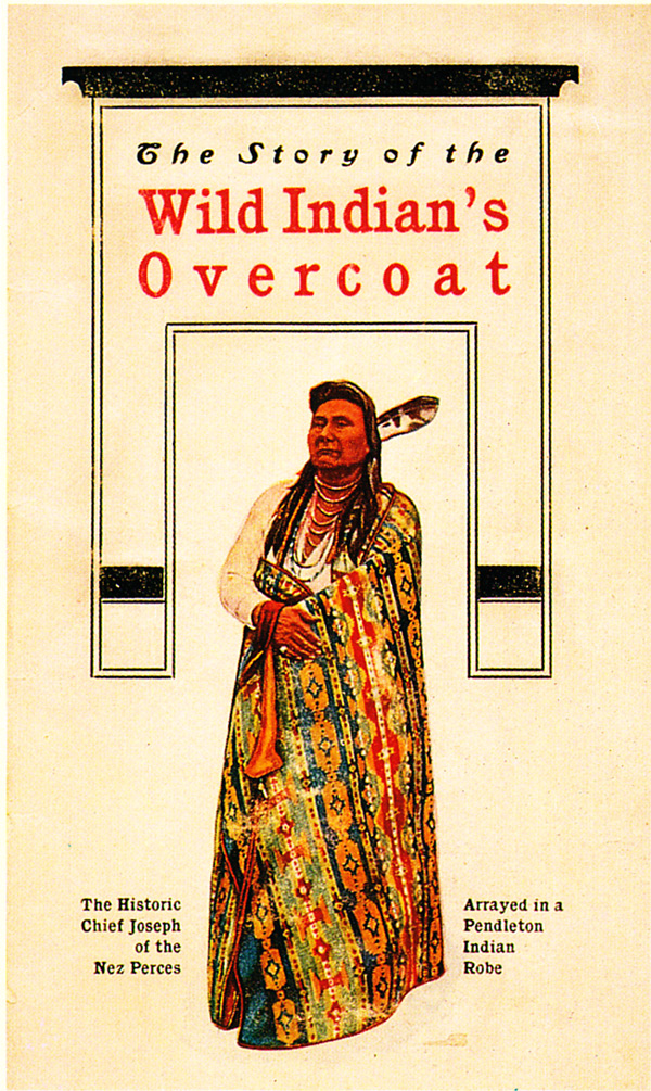 "The cover of the Pendleton catalog, circa 1901. This 24-page catalog offered blankets and photographs of the Plateau Indians by Major Lee Morehouse. Image via ""Language of the Robe."""