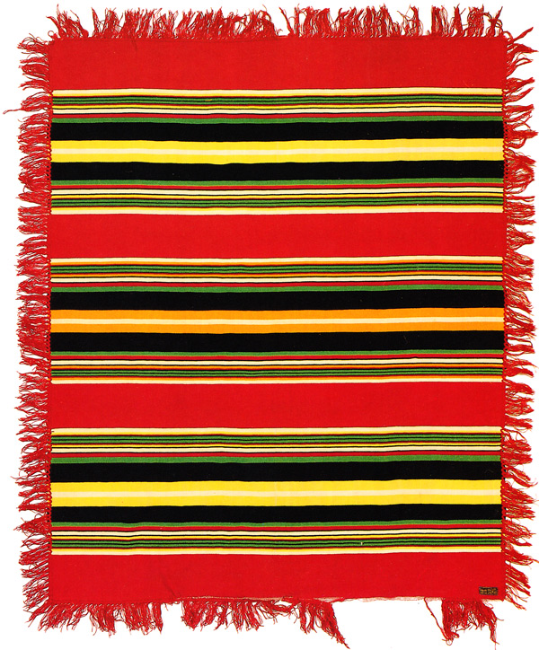 "A Pendleton striped shawl from 1910-1915, labeled as pure fleece wool. Via ""Language of the Robe."""