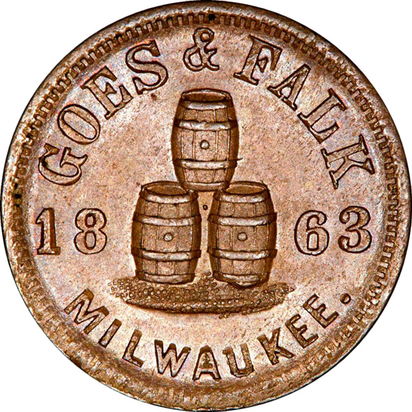 Tokens bearing beer glasses or barrels, such as this example from Milwaukee, are a popular type.