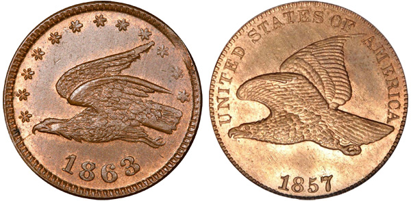 The flying eagle token on the left bears a striking resemblance to the real coin on the right (photo courtesy indiancent.com).
