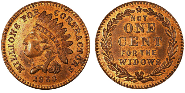 As the front and back of this token shows, the complaint that there's plenty of money to make war but little to pay for its impact on the families of soldiers is not new.