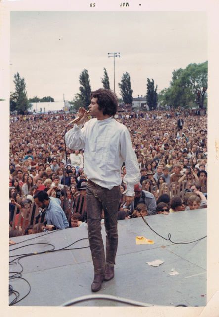 A snapshot of Doors singer Jim Morrison, taken by Quarry from the stage of the San Jose Rock Festival, 1968.