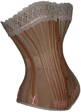 A long corset made by CK in Belgium, circa 1890. From the collection of L. Hidic, corsetsandcrinolines.com, via The Antique Corset Gallery.