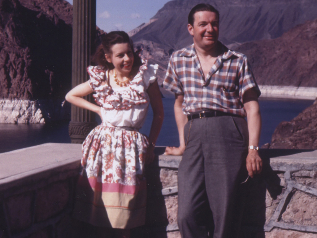 Newlyweds Joan Castle Joseff and Eugene Joseff at Lake Mead, Nevada, for their 1942 honeymoon. Joan wears the 10 bells necklace from the retail line.