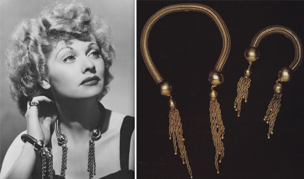 "Lucille Ball wears a Joseff of Hollywood necklace and bracelet set. The company provided much of the jewelry seen in ""I Love Lucy"" and was even a plot point in an episode."