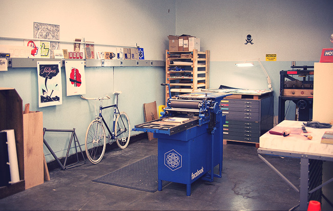 "A view of the ""Lab,"" which bears a striking resemblance to a print shop."