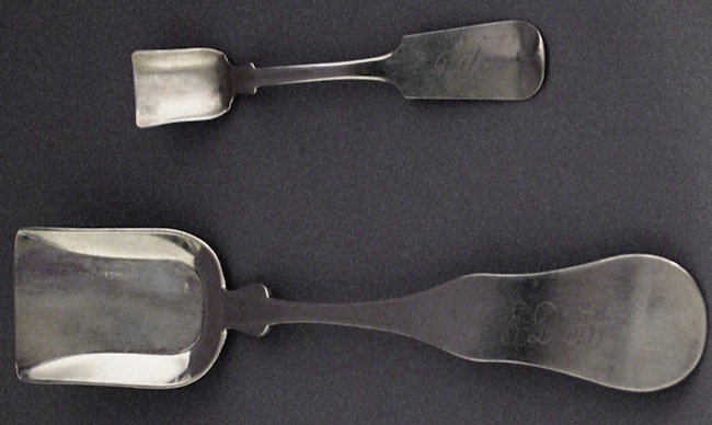 Top: A salt shovel by W. M. Root and Brother of Rutland. Above: A sugar shovel from H. M. Nichols of Lyndon Center.