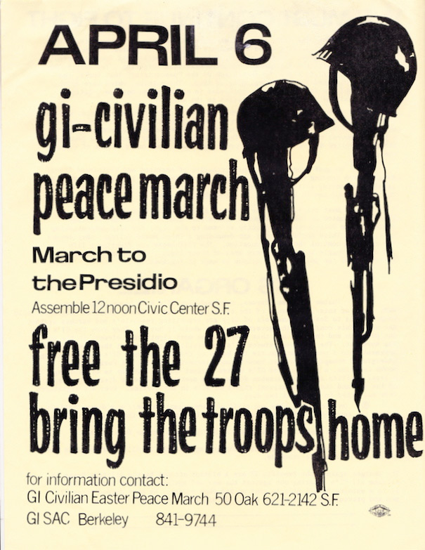 This 1969 flyer for an event in San Francisco advertised one of several peace marches around the country that day.