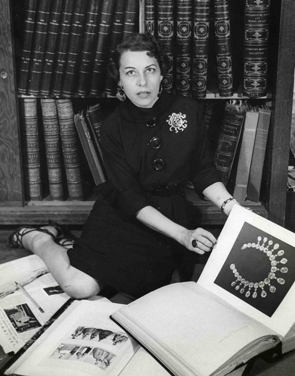 "Joan is pictured in the Joseff library in 1937, wearing a Joseff sun brooch. The necklace shown in the book was replicated for Norma Shearer in 1938's ""Marie Antoinette."""