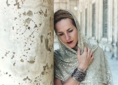 "Salamon tours a holy mosque in Egypt in an 1800s yarmulke, a silver cuff bracelet from Turkmenistan, and an early 1900s Egyptian wedding shawl woven with real silver. ""God was with us that day,"" Salamon says."