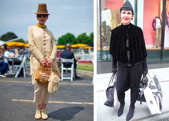 Left, the '20s look here is achieved with modern clothes, except for the vintage agate-bead necklace, the fully collapsible basket bag from the 1940s, the Arts and Crafts fabric handbag, and the straw hat, originally the back part of an 1880s bonnet. Right, the cape is 1920s black velvet, and the black wool hat is adorned with jet beads.