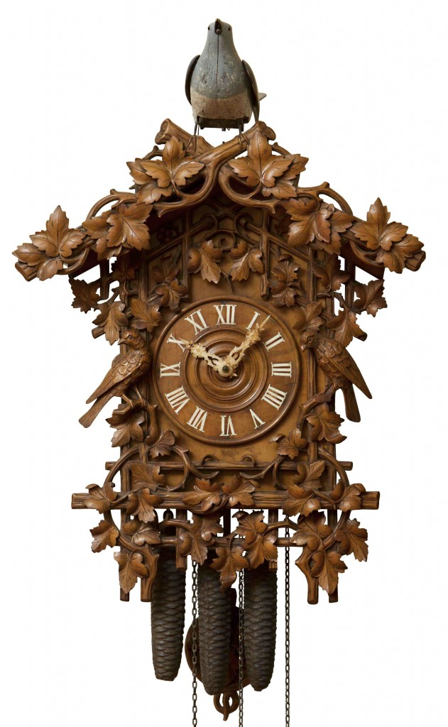 One of Miller's most exotic clocks is a cuckoo with a three-train movement and a life-size bird perched on top, designed by Johann Baptist Beha around 1880.
