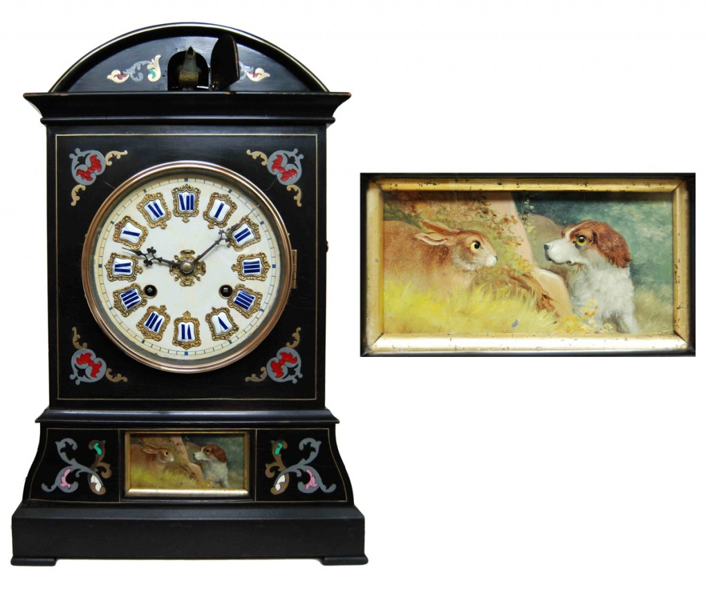 "Johann Baptist Beha designed this complex combination of a cuckoo and ""Augenwender"" around 1860, with a bird appearing at the top of the hour and the eyes of a dog and rabbit moving constantly along with the clock's pendulum. At right, a detail of the rabbit and hound with moving eyes, painted on zinc."
