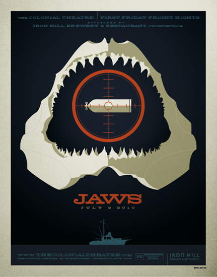 "Some ""Jaws"" fans have complained that Tom Whalen's poster for a 2010 screening contains a spoiler, but, as the artist puts it, who doesn't know how ""Jaws"" ends?"