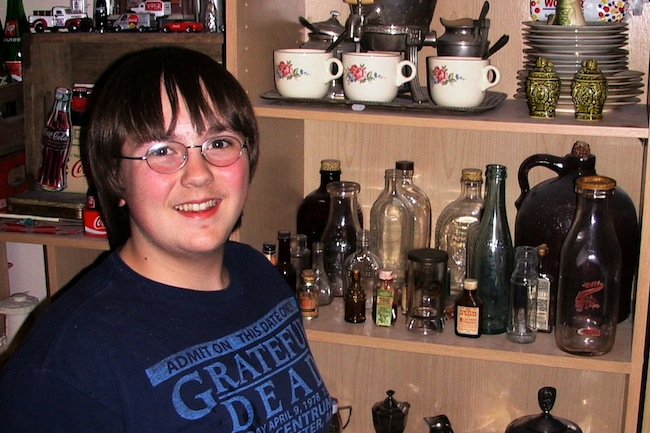 Thirteen-year-old Jonas Short has collected Coca-Cola, china, silver, and medicine bottles.