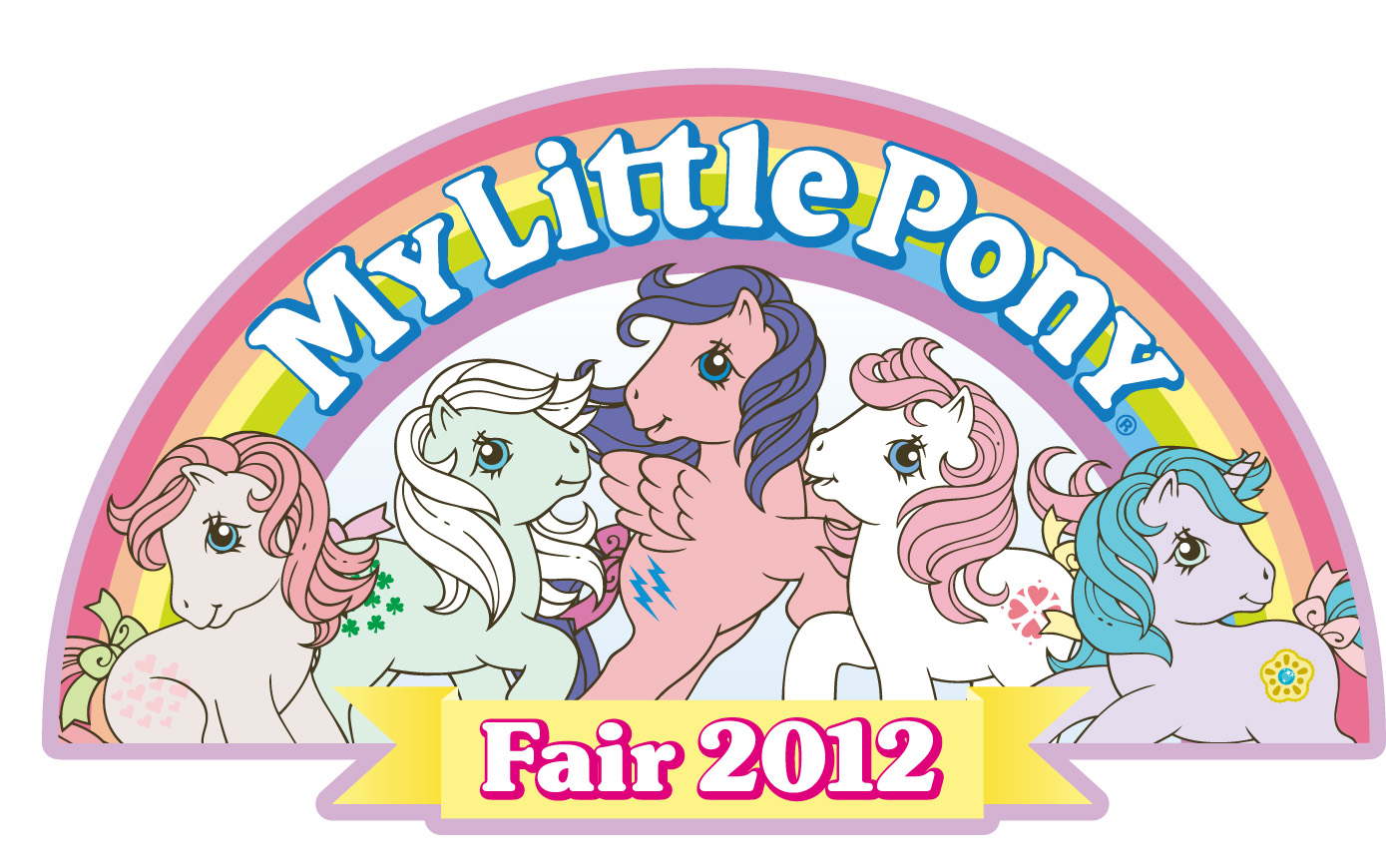 The logo for the 2012 My Little Pony Fair recalls vintage '80s advertising.