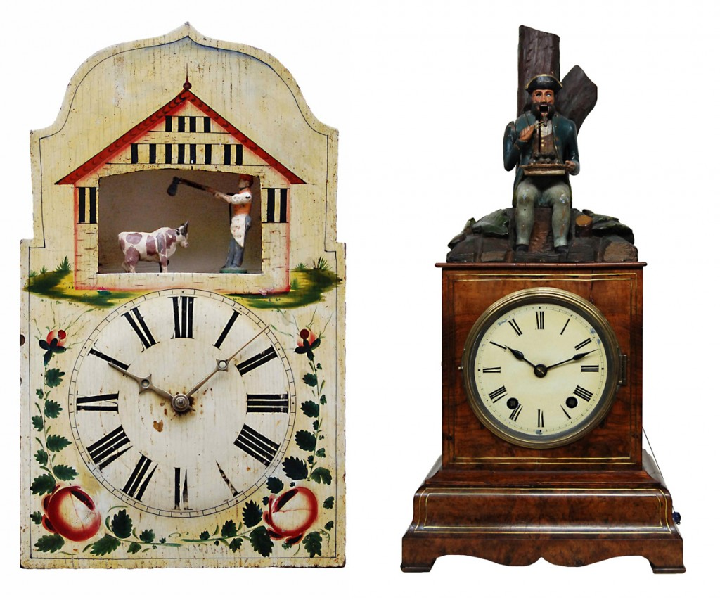 Black Forest timepieces incorporating a butcher, circa 1840 (left), and a French soldier munching a plate of rats, circa 1870 (right). The butcher is animated every hour by a wood-plate metal spindled movement, while the rat-eater is activated every 10 minutes with a solid brass-plate movement.