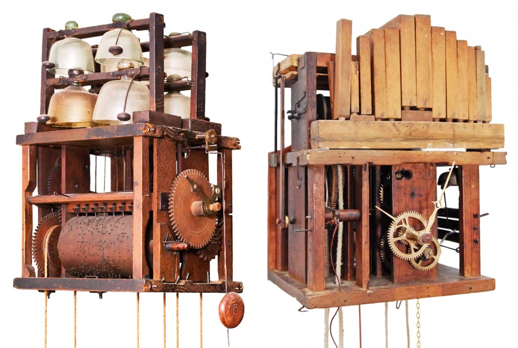 Early bell and flute clocks with their lacquered shields removed, showing a pinned cylinder and glass bells, circa 1780 (left), and the fifteen wooden pipes used to play four different tunes, circa 1820 (right).