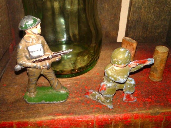 Jacob is drawn to old military toys, like these metal soldiers, which sparked his interest in picking.