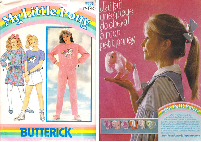 This 1985 Butterick pattern with My Little Pony transfer was posted on Patternpalooza's Flickr. Right, TheVintageToyAdvertiser.com unearthed this vintage French ad.