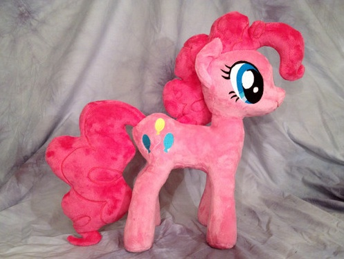 An example of a fan-made plush toy of Pinkie Pie, currently for sale on eBay.