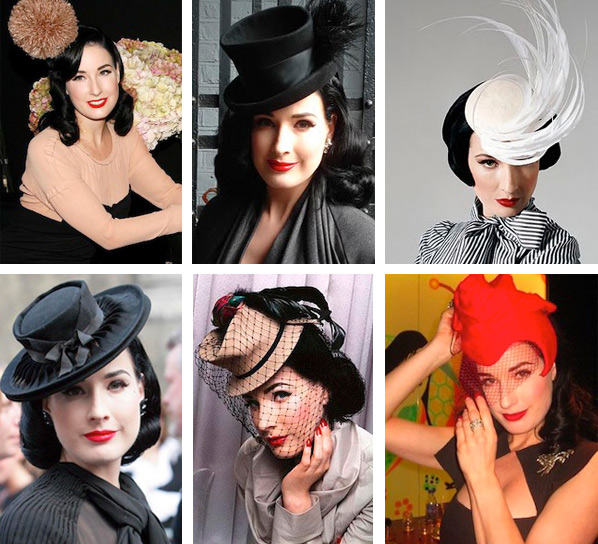 Above: Von Teese wears her antique hats out and about. Below: Her collection has so many hundreds of hats, they take up their own room in her home. Photo by Douglas Friedman for the February 2011 issue of InStyle.